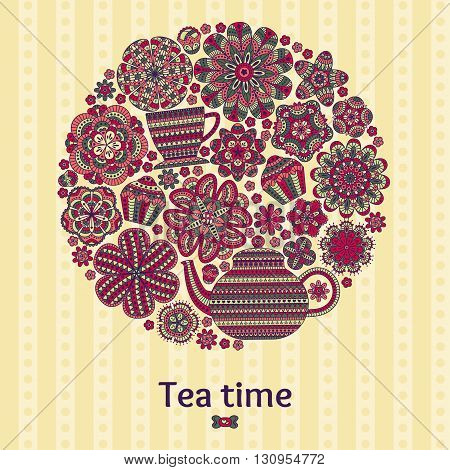Romantic round background with teapot, cup, muffins, flowers. Curtain or tablecloth design. Vector illustration.