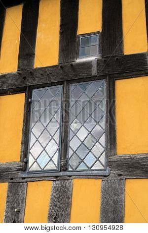 STOKESAY ENGLAND - FEBRUARY 21: Details of windows in the gatehouse to Stokesay Castle. In Stokesay Ludlow England. On 21st February 2016.