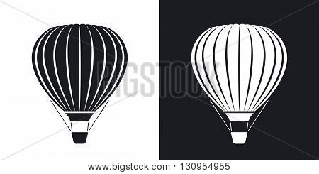 Vector hot air balloon icon. Two-tone version on black and white background