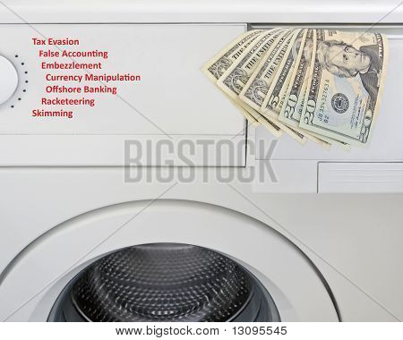 Money laundering concept with US banknotes