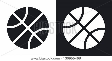 Vector basketball icon. Two-tone version on black and white background