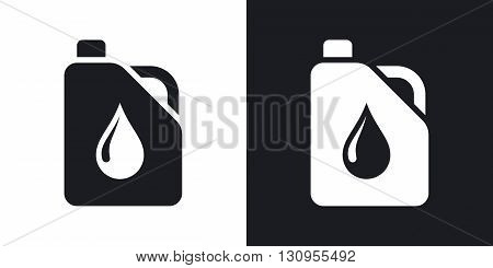 Vector canister of motor oil icon. Two-tone version on black and white background