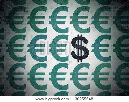 Currency concept: rows of Painted blue euro icons around black dollar icon on Digital Data Paper background