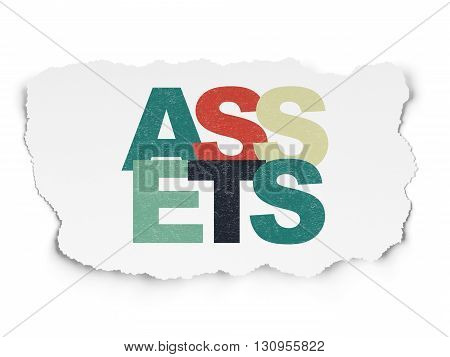 Money concept: Painted multicolor text Assets on Torn Paper background