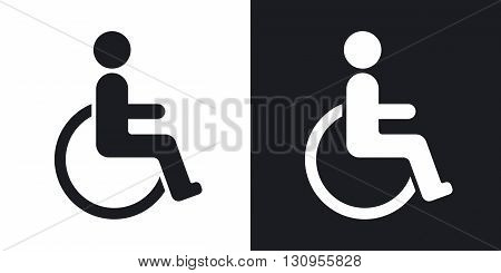 Vector disabled sign. Two-tone version on black and white background