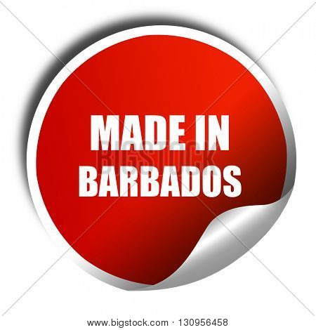 Made in barbados, 3D rendering, red sticker with white text