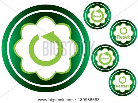 Clipart with green icons arrows of restart