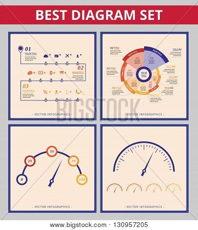 Business diagram set. Editable templates for radial diagram, speedometer chart and timeline diagram