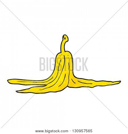 freehand textured cartoon banana peel