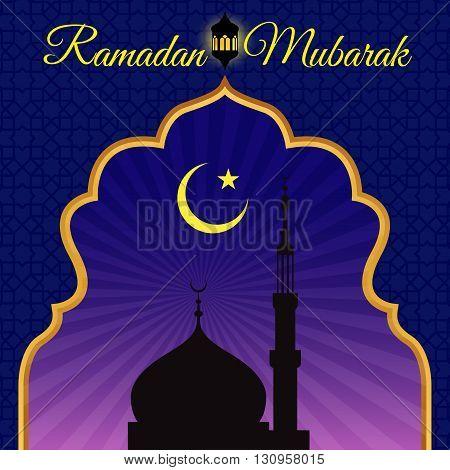 Ramadon Mubarak - Gold arab window art and masjid at night vector design