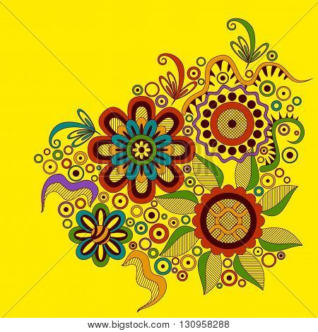 Abstract Colorful Ornament, Symbolical Floral Patterns on Yellow Background. Vector