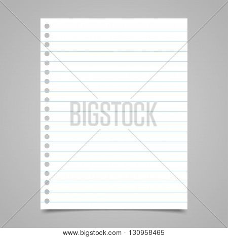 Blank paper note with lines. Vector illustration eps10