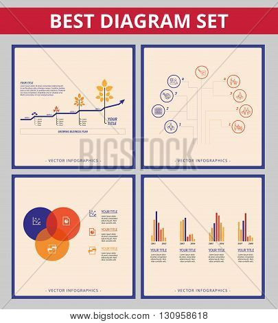 Business diagram set. Templates for line chart, Vein diagram, bar chart and tree chart