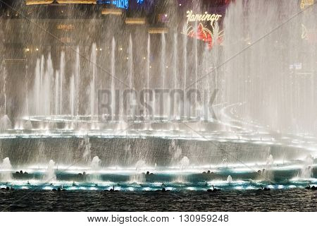 LAS VEGAS - MAY 2, 2007: Musical fountains at Bellagio Hotel & Casino. The Bellagio opened October 15, 1998, it was the most expensive hotel ever built at US$1.6 billion.