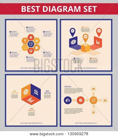 Business diagram set. Templates for hexagon diagram, flow chart and cube diagram
