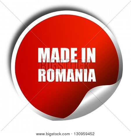 Made in romania, 3D rendering, red sticker with white text