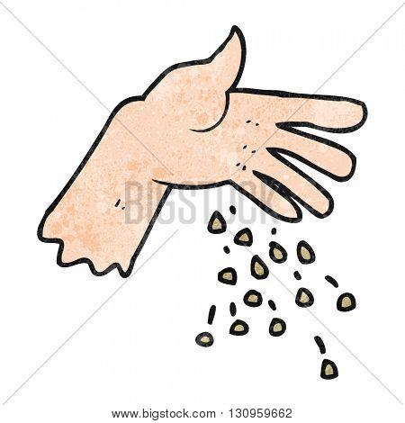 freehand textured cartoon hand spreading seeds