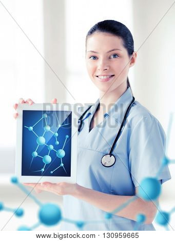 healthcare, hospital, research, science and medical concept - female doctor with tablet pc and molecules