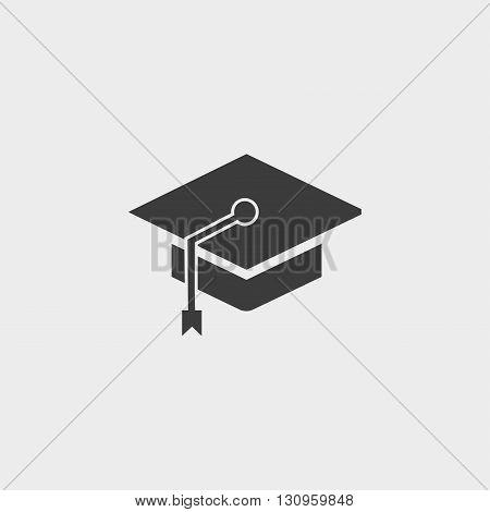 Graduation cap icon in a flat design in black color. Vector illustration eps10