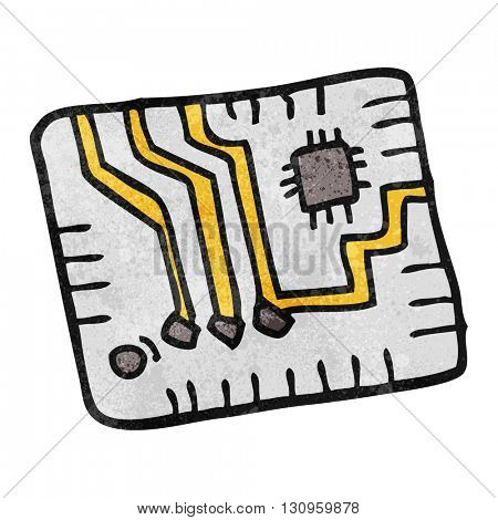 freehand textured cartoon computer circuitboard