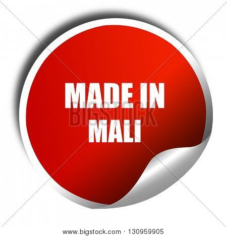 Made in mali, 3D rendering, red sticker with white text
