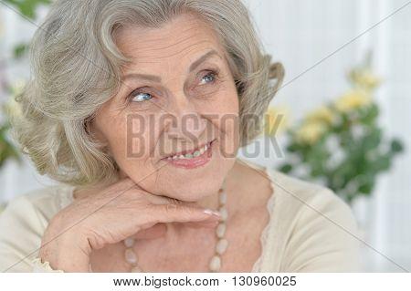 Portrait of a happy senior woman close up