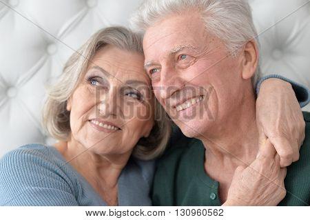 Portrait of a happy senior couple close up