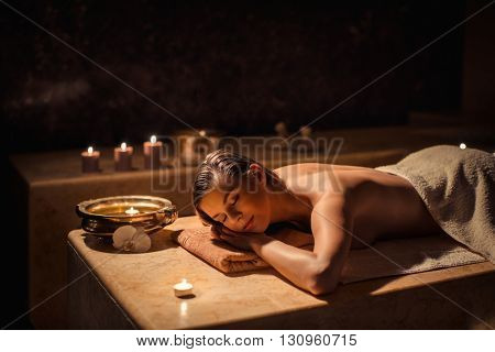 Beautiful woman in beauty spa
