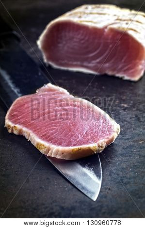 Tuna Tataki Steak on old Sheet