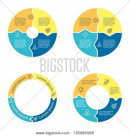 Circular arrows for infographics. Chart, diagram with 4 steps, parts. Vector templates.