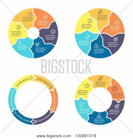 Circular arrows for infographics. Chart, diagram with 6 steps, parts. Vector templates.