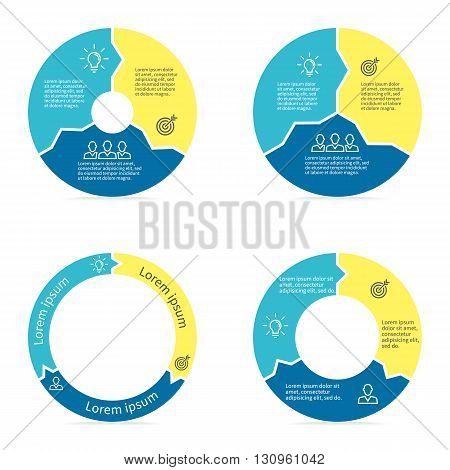 Circular arrows for infographics. Chart, diagram with 3 steps, parts. Vector templates.