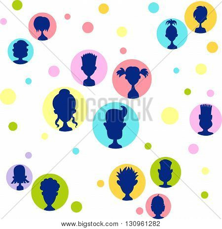 Men women child relationship colorful avatar bubble set - vector