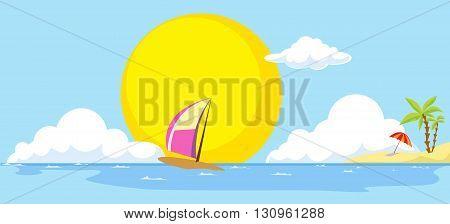 summer beach and sea banner - vector illustration