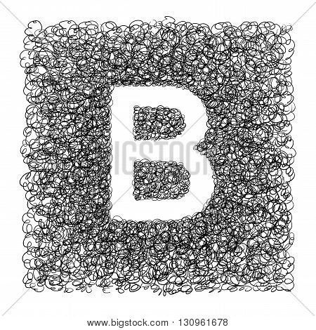Hand made font drawn with graphic pen on white background