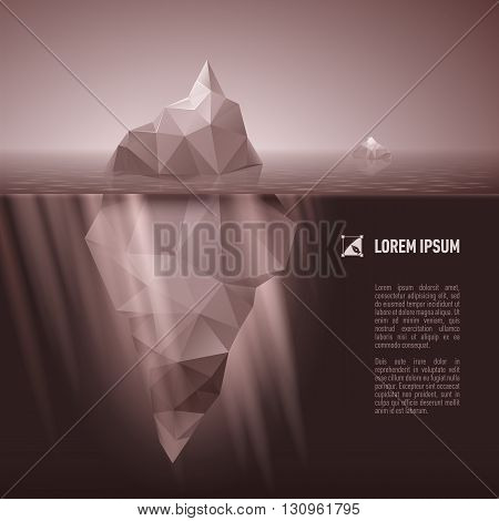 Dark grey iceberg drifting in the sea.