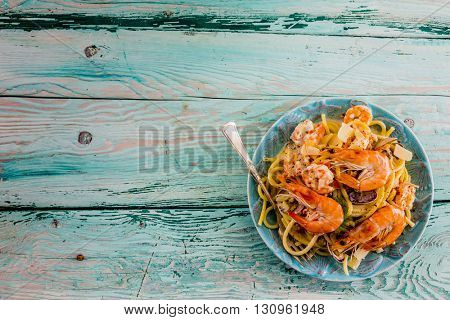 Pasta Frutti di Mare, Seafood - Spaghetti with Tiger Prawns, Mussels