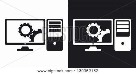 Vector computer settings icon. Two-tone version on black and white background