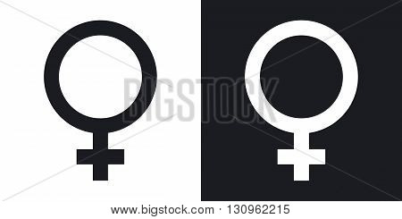 Vector female sex symbol. Two-tone version on black and white background