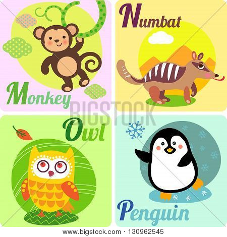 Cute zoo alphabet in vector. M N O Pl letters. Funny animals for ABC book. Monkey numbat owl penguin.