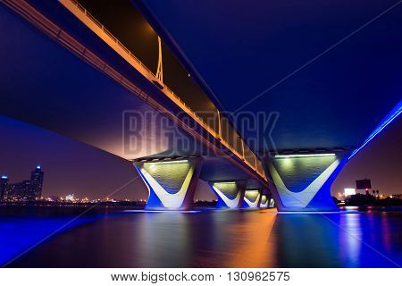 The Al Garhoud Bridge in Dubai crosses the Creek