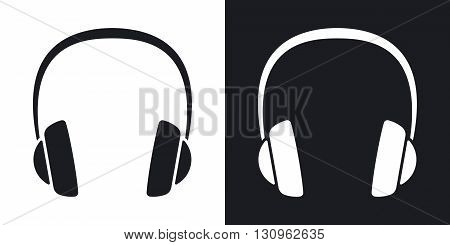 Vector headphones icon. Two-tone version on black and white background