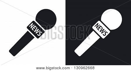 Vector news microphone icon. Two-tone version on black and white background