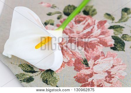 A close up white Lilly on beautiful background