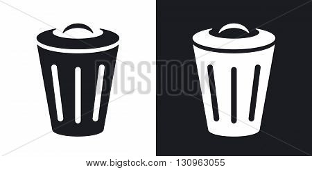 Vector trash can icon. Two-tone version on black and white background