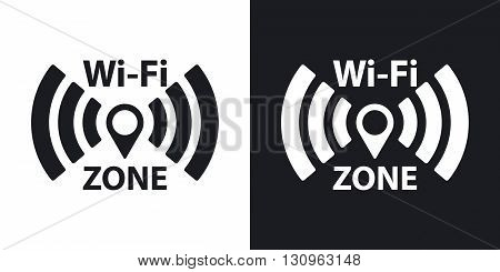 Vector Wi-Fi network icon. Two-tone version on black and white background