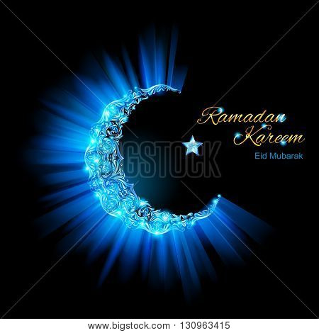 Glowing ornate Moon Crescent and a star in brilliant light blue shades. Greeting card of holy Muslim month Ramadan