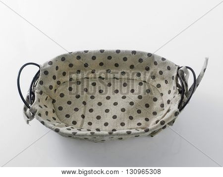 wire basket with  the polka dot