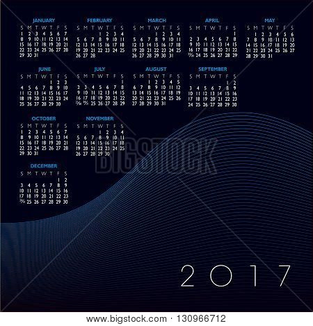 A 2017 abstract wavy line calendar for print or web