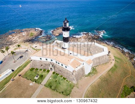 Aerial view of Barra Lighthouse in Bahia, Brazil